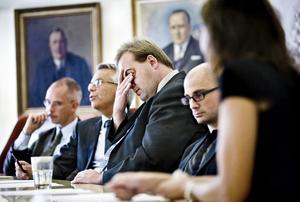 Den dåvarande borgerliga konstellationen ir valet 2010: Staffan Werme (FP), Lennart Bondeson (KD), Fredrik Persson (MP) och xxxxxx (C). Arkivbild: Lennart Lundkvist