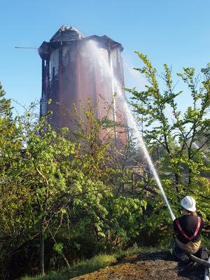 Den 21 maj 2018 totalförstördes vattentornet i en brand. Foto: Privat