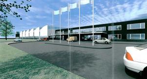 Teckningen visar hur terminalbyggnaden kommer att se ut. Den blir omkring 200 meter lång och hög som ett vanligt tvåvåningshus.