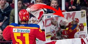 Niklas Svedberg slog Emil Sylvegård i ansiktet. Foto: Christian Öhrnberg (Bildbyrån)/Skärmdump (C More).