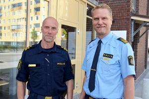 Polischeferna Thomas Nyberg och Josef Wiklund är glada över att de ska få 40 nya polisaspiranter till Västernorrland.