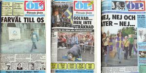 Förstasidorna från 16 september 1988, 17 juni 1991 och samma datum 1995 ger alla samma besked: OS kommer inte att arrangeras i Östersund.