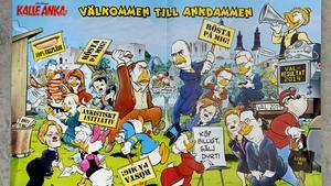 Kalle Anka är ständigt relevant för sin tid, som här då ankeborgarna tog politisk strid under Almedalsveckan 2014.