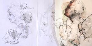 Sam Westerholm tecknar mycket. Här är några gjorda under Skulptörförbundets möten. Foto: Privat