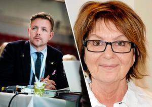 EU-parlamentarikern Fredrick Federley och kommunalrådet Irene Homman är bland de högt betalda i Gagnef. Foto: Pontus Lundahl/TT och Kent Olsson