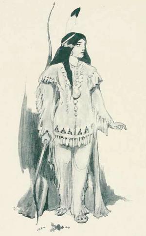 Indianprinsessan Tigerlilja. Illustration av Oliver Herford från 1907.