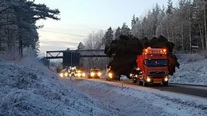 Granen transporterades via Lugnetleden och Svärdsjögatan.