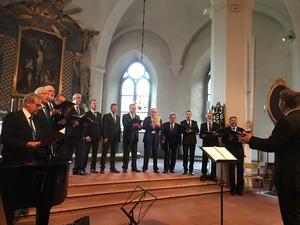 Church Hill Boys från Moras finländska vänort Vörå i Österbotten, uppträdde under den kyrkomusikaliska vänortskonserten i Mora kyrka onsdagen 7 augusti. Foto: Lennart Sacrédeus.