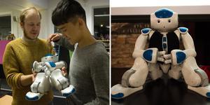 När forskaren Fredrik Löfgren visar upp sin robot ser Ali Reza Hossaini det ganska naturligt att artificiell intelligens tar över många jobb. Bilden är ett montage.