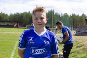 Linus Nordqvist, en av deltagarna på Fotbollsfritids i Rengsjö.