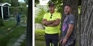 Roger Hjortén och Pelle Johansson mötte den misstänkte gärningsmannen.