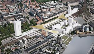 Enligt förslaget ska ett modernistiskt tak täcka bussterminalen och de nya passagerna över spåren.  Bild: Bjarke  Ingels Group