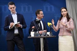 Moderaternas nya idéprogramsgrupp leds av Chrisofer Fjellner (till vänster) och Alice Teodorescu (till höger).  Foto: Henrik Montgomery