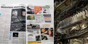 Sidorna tio och tre hamnade bredvid varandra. Till höger en bild från tryckeriet i Birsta. Bilder: Daniel Haugen och Jenny Toresson