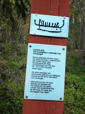 Efter leden vid Omsberget i Skatan har länsstyrelsen satt upp stolpar med text.