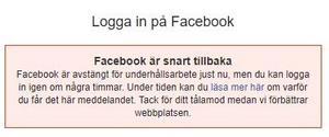 Det här meddelandet mötte vissa användare i Sverige – i delar av Sverige kan man inte logga in, i andra delar kan man logga in men inte posta inlägg.
