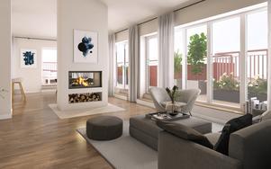 Färdiginredda 3D-bilder har tagit fram till marknadsföringen av bostadsrätterna. (Bild: Agnasark/Uvr Nordic)