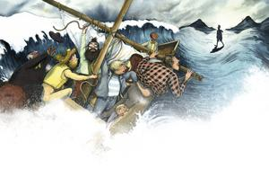 Jesus går på vattnet. Illustration av Marcus-Gunnar Petterssons i  nya