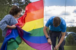 Hembygdsföreningen och Färilarådet gick samman för att smycka Färila med än fler regnbågsflaggor, strax innan Pridehelgen inleds.