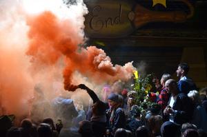 Pyrotekniska underverk på den sista upplagan av Gagnef-festivalen, som arrangerades den gångna helgen. FOTO: Fredrik Caresten