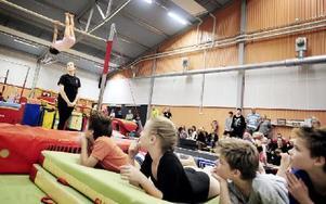Starka armar och ben. Alla grenar pågår samtidigt när sextio unga medlemmar i Leksands Gymnastikförening har egen klubbtävling. Foto: Dennis Pettersson/DT