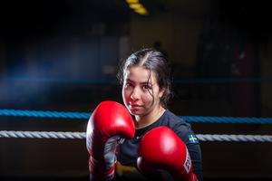 Zehra Milli, BK Masens stora kvinnliga framtidshopp inom boxning. Foto: Bengt Pettersson