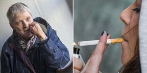 Till sommaren skärps tobakslagen och det blir inte längre tillåtet att röka på många offentliga platser. Foto: TT/Denny Calvo. Bilden är ett montage
