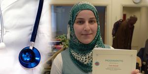 Hala Alzoubi har bestämt sig för att ta sitt öde i egna händer och ska först utbilda sig till sjuksköterska – för att sedan arbeta för att bli läkare. FOTO: Montage