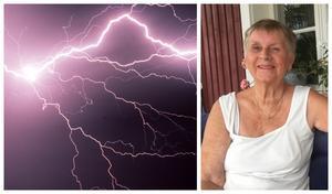 När blixten slog ner utanför Hällabrottet drabbades många hushåll.  Birgitta Svedberg var väldigt nära att bli träffad själv.  Foto: Jan Wijk och TT
