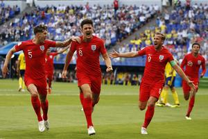 Harry Maguire nickade in matchens första mål för England. Foto: AP Photo/Francisco Seco