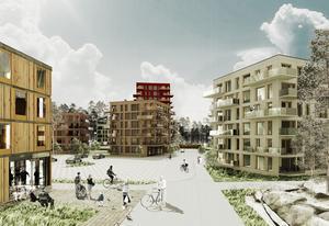 Så här ska det se ut när nya bostäder och äldreboenden byggs  vid Stenkumlaskolan. Området kallas Kornknarren.  Bild: Towatt arkitekter