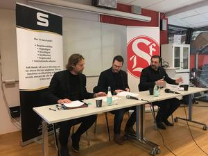 Representanter för SIF, SAIK och Göransson Arena under presskonferensen där samarbetet presenterades.