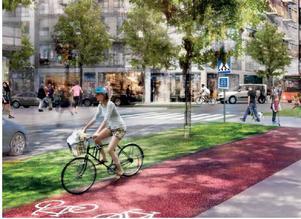 Gång- och cykelvägar ska bli fler och befintliga ska rustas upp och bli mer trafiksäkra, separerade från biltrafiken och gärna med lite grönska emellan. Exempelbild från täby park. Skiss: Södertälje kommun
