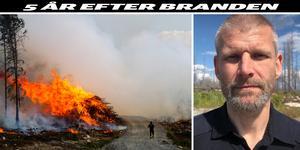 Till vänster: Bild från branden i Västmanland 2014 (Foto: Alexandra Sannemalm). Till höger: Fredrik Eriksson, brandingenjör på Mälardalens brand- och räddningsförbund.