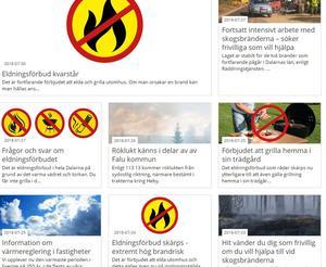 Foto: Skärmdump.Bilden är en skärmdump från falun.se. Sedan den 23 juli har det skrivits åtta artiklar med information kopplat till den extrema vädersituationen som har varit under större delen av sommaren.