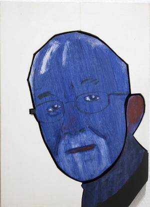 Konstnären Mikael Fares porträtt av den store Västeråsförfattaren Lars Gustafsson.