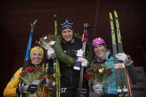 Lina Korsgren, Britta Johansson Norgren och Katerina Smutna på prispallen efter Tjejvasan.