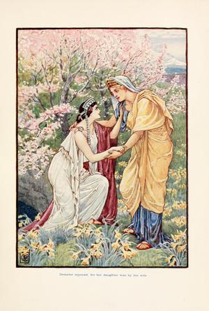 Demeter med sin älskade dotter Persefone. Illustration av Walter Crane från 1914.