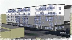 En skiss över hur huset på Södra Kansligatan kan se ut med två påbyggda, indragna takvåningar. Illustration: Maxim Arkitekter