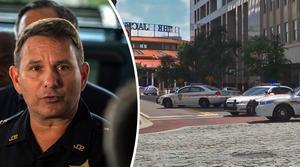 Sheriff Mike Williams höll medieuppbådet uppdaterade om händelsen på söndagen.Bild: Laura Heald/AP/TT