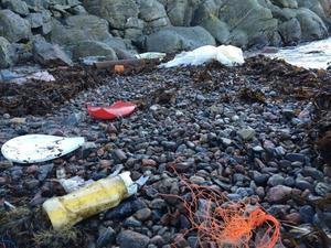 Enorma mängder plast spolas upp på Sveriges stränder varje år. Foto: Cilla Eklund/Ren Kust