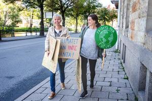 Cia Hessel och Katarina Strandahl med några av plakaten med budskap för en bättre framtid.
