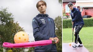 Emil Carlsson är duktig på innebandy och har alltid med sig en klubba och boll vart han än går. Innebandy är hans liv och det är det han vill satsa på framöver.