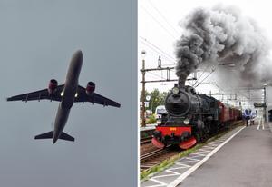 Hellre att resandet blir klimatvänligare än att vis lutar resa. Flygens utsläpp går att minska, precis som skett med järnvägsresandet. Foto: TT