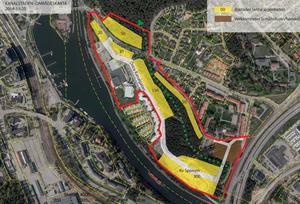 Så här såg de första skisserna ut i planerna på att göra Kanalstaden till en ny stadsdel. Kvarteret Sporren är området längst ner till höger i bild. Arkivfoto: Södertälje kommun