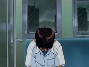 Huvudpersonen Shinji plågas av känslan av att inte räcka till. Foto: Gainax