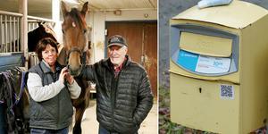 Suzanne och Sven-Erik Landin visar upp hästen som inte får tävla i fredagens lopp på grund av att ett friskintyg blev kvar i brevlådan en vecka.