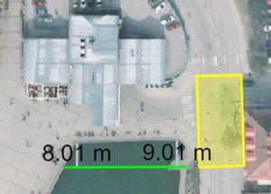 En breddning av kajen söder om det tilltänkta hotellet kommer att ta 8–9 meter av Marens nuvarande vattenspegel. Skiss: Södertälje kommun