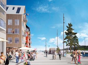 Illustration: Sydväst arkitektur och landskap.Bilden illustrerar Hamnpromenaden som går framför husen närmast kajen.