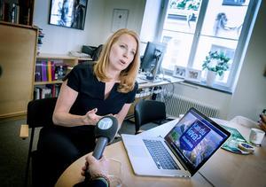 Centerpartiets partiledare Annie Lööf i  intervjun med Mittmedia.